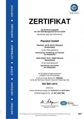 Planatol Zertifikat