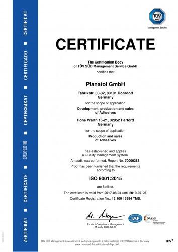 Planatol certificate